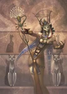 Богиня Древнего Египта Баст с лицом кошки