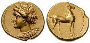 Лошадь на монете Карфагена