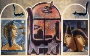 Богиня свободы Либертас в окружении кошки