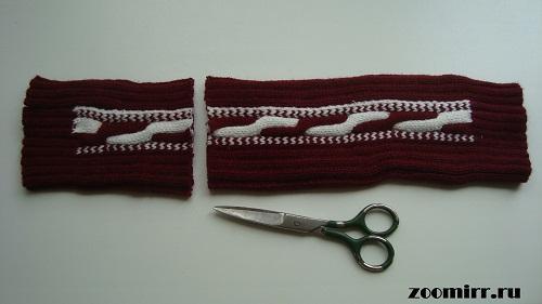 Отрезаем длину свитера
