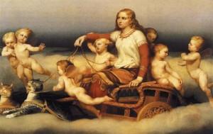 Скандинавская богиня любви Фрея с кошками